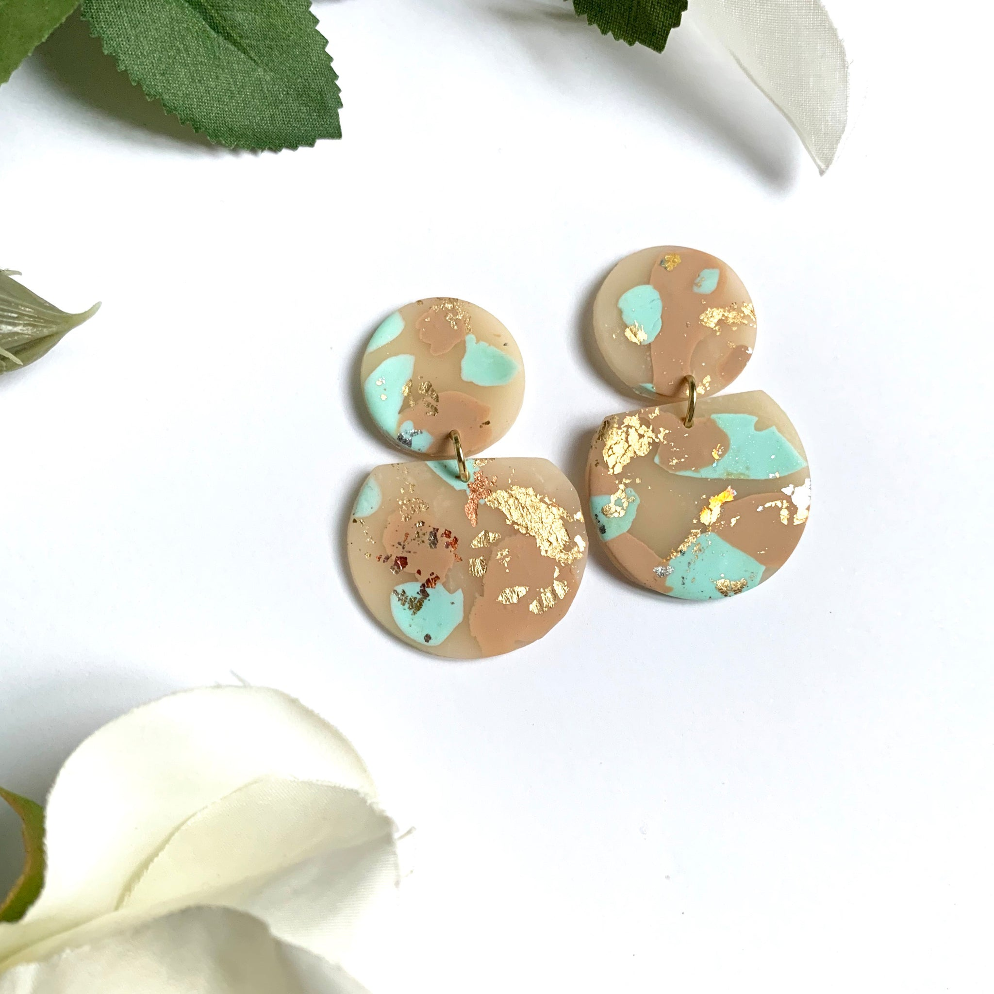 Mint & Rose Gold Chunky Studs