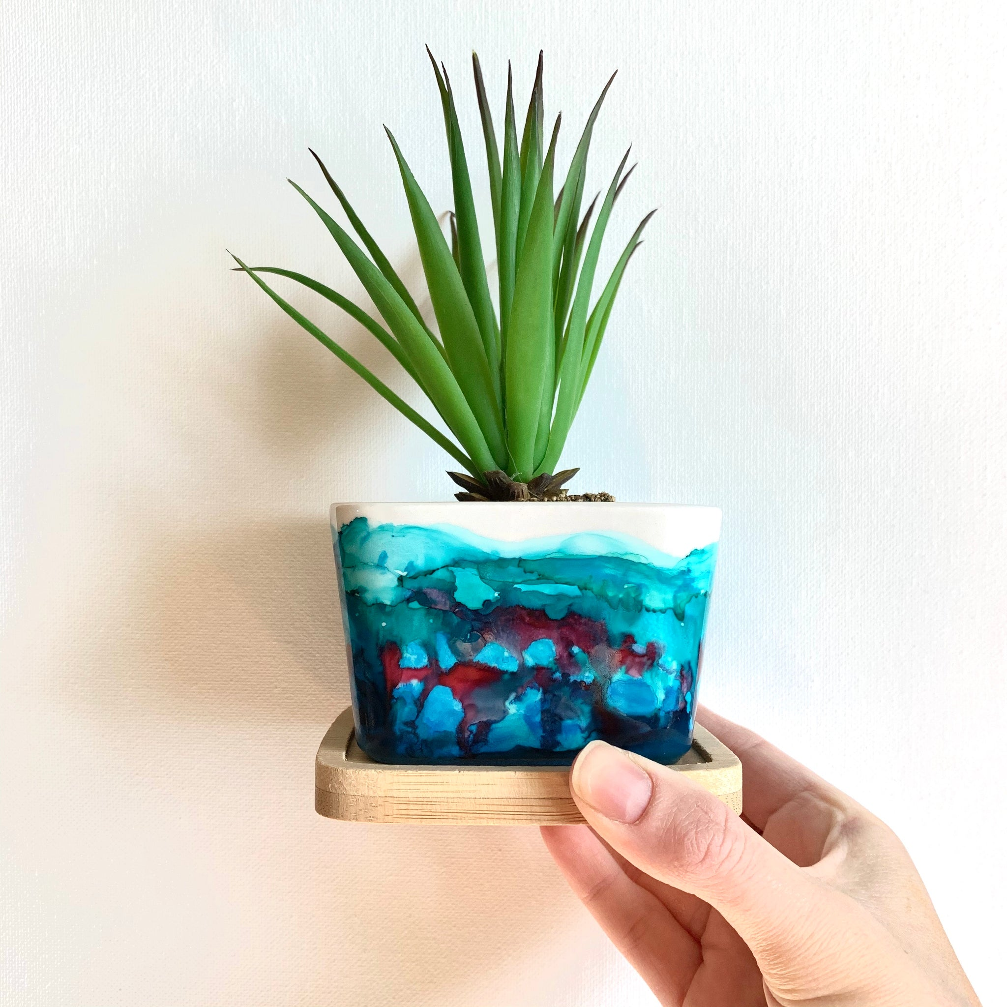 Blue Sherbet Square Planter Pot
