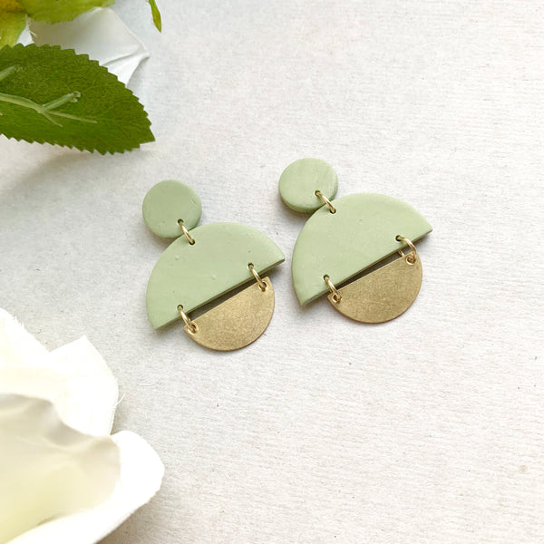Olive Green + Gold Studs