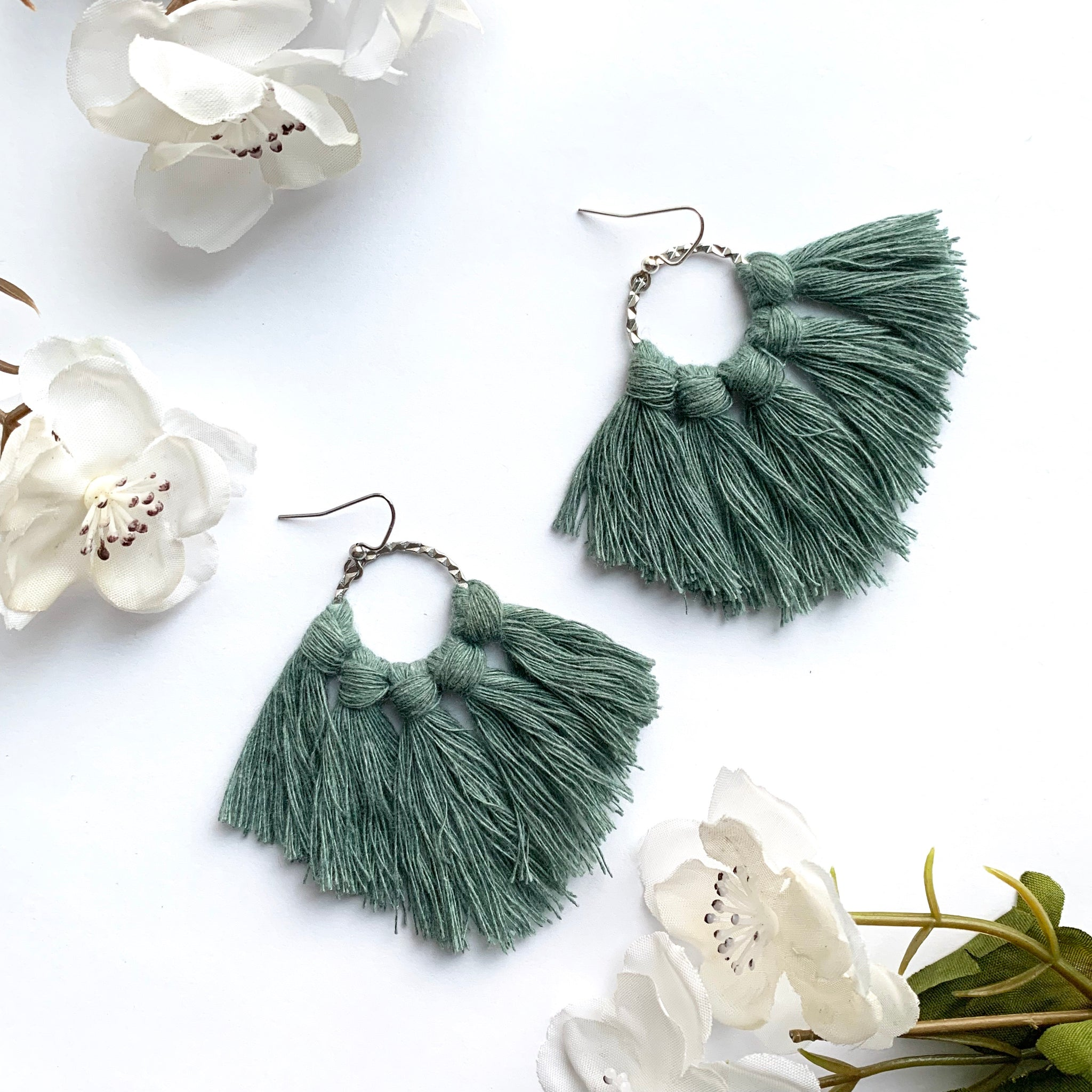 Dark Teal Macrame Earrings