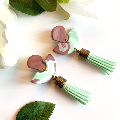 Burgundy & Mint Green Tassel Studs, Large