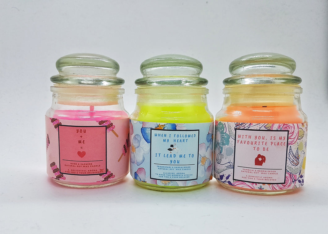 Yours Bee Loved - Quotes Candle | Natural Soy Wax Candle | 3 in 1 Combo Gift Pack - YoursBeeLoved