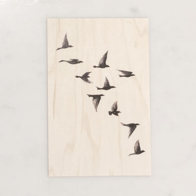 Wooden Postcards: Black Bird Set (4)