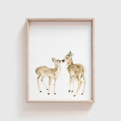 Kissing Deer Art Print