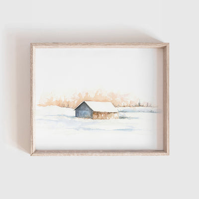 Barn No. 9 (Snow Barn) Art Print
