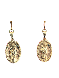 Santa Muerte large pendant earrings