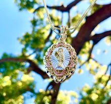 Load image into Gallery viewer, Santa Muerte gold/ pink pendant