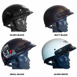 THH T70 half shell helmet comes in gloss and matt black plain, gloss white and also skull graphic and are ideal for farm ATV riders
