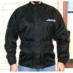 Rjays Rain Jacket (overjacket) is made of reinforced PVC backed nylon and all seams are tape welded to keep the elements out