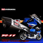 YM-170-571-552050 - Yoshimura R-11 dual exit slip-on for 2011 onwards Suzuki GSX-R600 and GSXR-750 in stainless with either a metal magic or stainless cover (SAMPLE PICTURE)