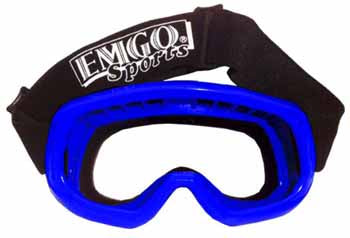 Emgo Sports Goggles are available in blue and black, and replacement lens are available in clear and smoke