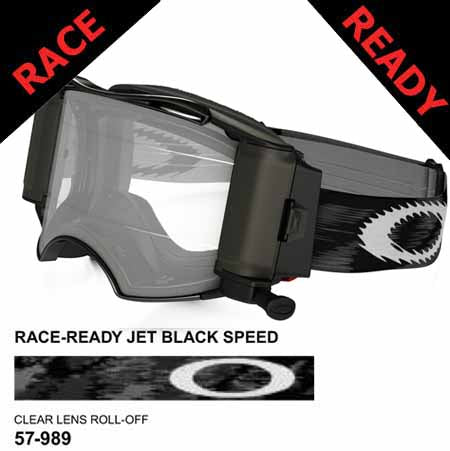 OA-57-989 Oakley Jet Black Airbrake MX with race-ready roll-off system and clear lens