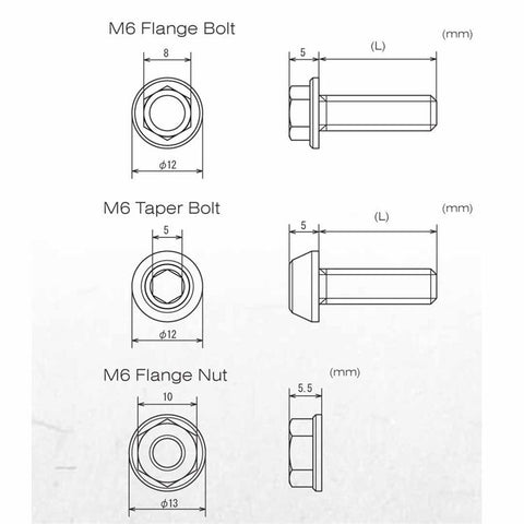 DRC M6 Nut and Bolt Dimensions