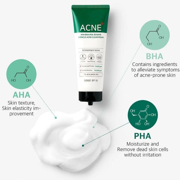 Aha-Bha-Pha 30 Days Miracle Acne Clear Foam Cleanser,100ml (Proved to enhance acne skin)-Simple-Some By Mi-Chicsta