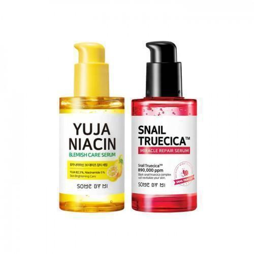 Yuja Niacin Serum + Snail Truecica Serum-Some By Mi Care+Repair Serum-Chicsta