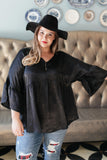 Salina Satin Top in Black