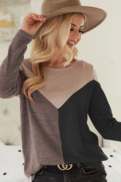 Sweater Knit Color Block Top (Preorder)