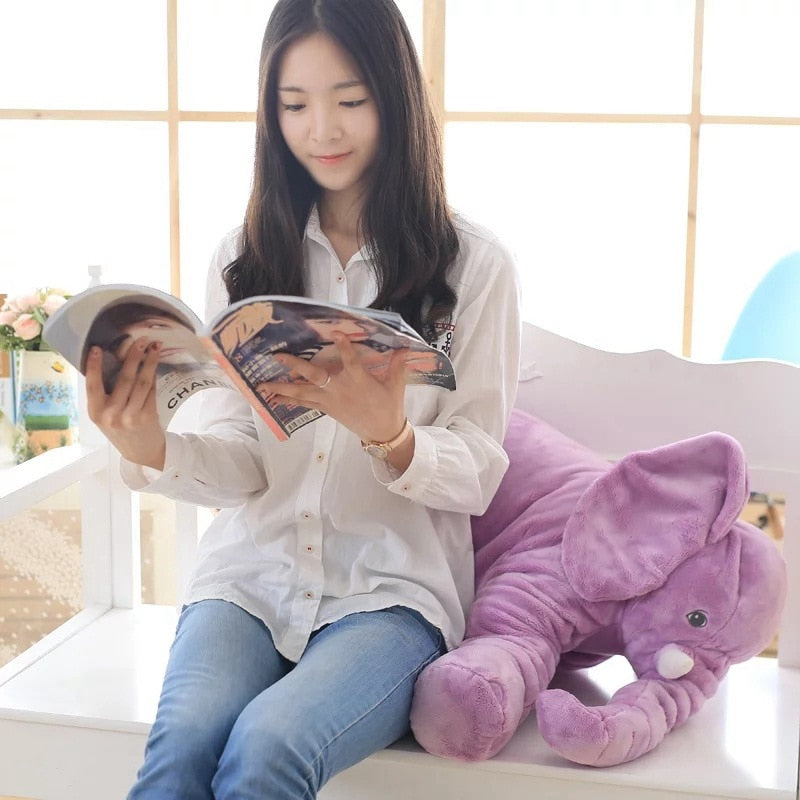 kawaii-cute-light-purple-elephant-plush-children-Asian-woman-reading-magazine