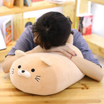 Kawaii-asian-female-sleeping-on-blonde-anime-kitten-plush-pillow