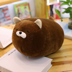Kawaii-brown-sad-adorable-anime-kitten-plush-pillow-on-desk