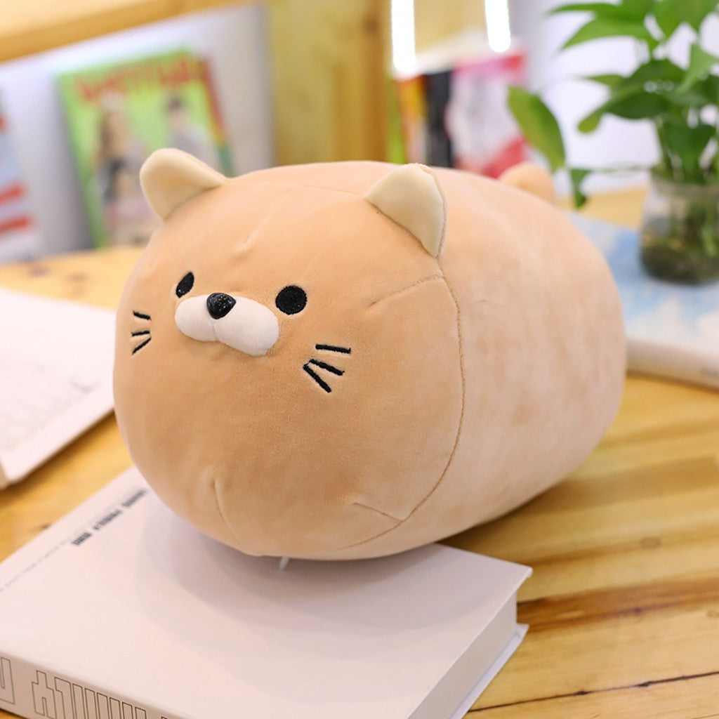 Kawaii-blonde-adorable-anime-kitten-plush-pillow-on-desk
