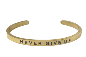 NEVER GIVE UP-4MM ENGRAVED