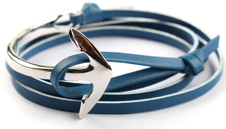 anchor on leather strap jewellery