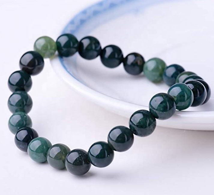 Natural 8mm Gorgeous Moss Agate Semi-Precious Gemstones