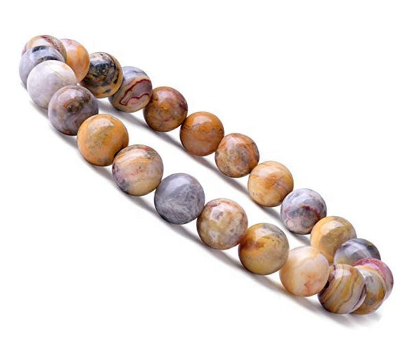 Natural 8mm Gorgeous Crazy Agate Semi-Precious Gemstones