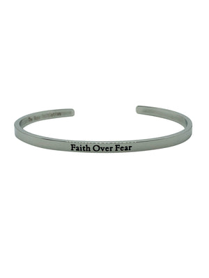 "positive affirmation jewellery with ""faith over fear"" inscription"
