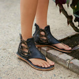 Women's New Large Size Flat  Zipper Leather Beach Sandals