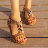 Women's Summer Comfort Sandals Flat Heel Bohemian Sandals Rhinestone Metal Buckle Casual Shoes