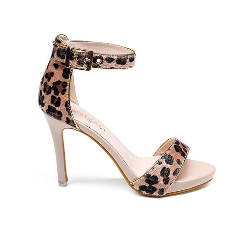 Women's High Heel Sandals 2019 Summer New Fashion Leopard Fish Mouth Buckle Open Toe