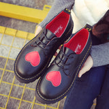 Women's Comfort Thick Sole Pumps Round-Toe with Red Heart Casual Creative?Style
