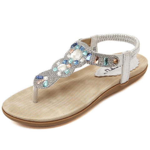 Women's Shoes Sandals 2019 New Rhinestone Flip Flops Beach Shoes Casual
