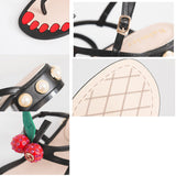 Women's Pearl Cherry Sandals Soft Thick Heels Sandals Shoes