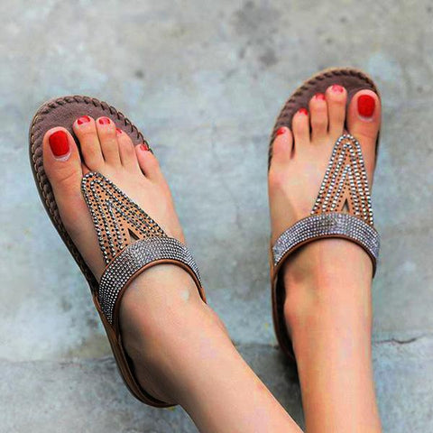Comfy Shiny Rhinestone Thong Sandals