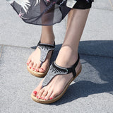 Women's Summer Comfort Sandals Flat Heel Bohemian Sandals Rhinestone Fashion Elegant
