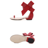 Women's Leather  Flat Shoes with Large Bows Velcro Sandals Summer