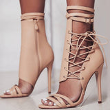 Women's High Heel Pump Cross Lace-up Fish Mouth Sandals