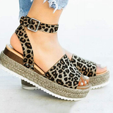 Women's Rubber Soles Weave Thick Bottom Leopard Rivet Wedge Buckle Sandals