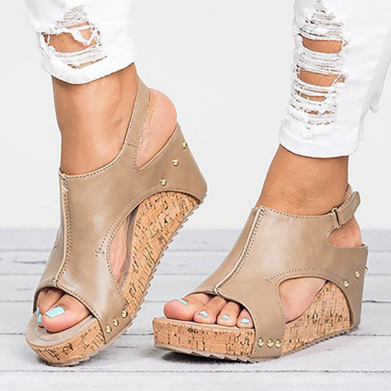 price reduced many fashionable professional sale Women's Fashion Summer Casual Roma Style Velcro High Heels Wedges Sandals
