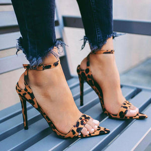 Women's Sexy Leopard Pointed Toe High Heel Sandals Pump