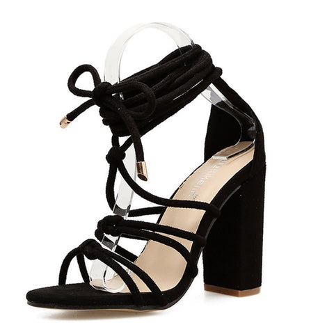 Women's Sexy Cross Strap Chunky Heel Sandals