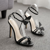 Women's Shoes Comfort Heels Heeled Sandals Rhinestone Bow-Knot Ankle Strap Stiletto Heel