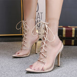 Women's Transparent Fashion Casual Pointy Toe High Heels Summer Sandals