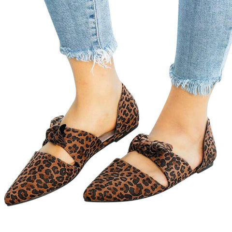 Womens Sexy Pointed Toe Flats Shoes Summer Casual Leopard Bow Pumps Closed Toe