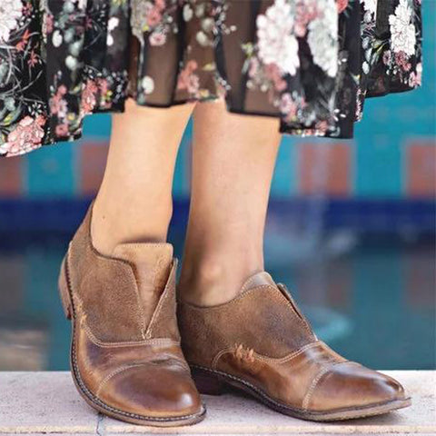 Women's New PU Leather Color Matching Round Head Bullock Shoes