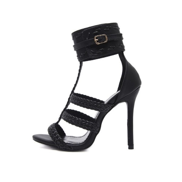 4df91cee86e Women's High Heel Sandals 2019 Woven T-belt Buckle Thin Black Solid Color