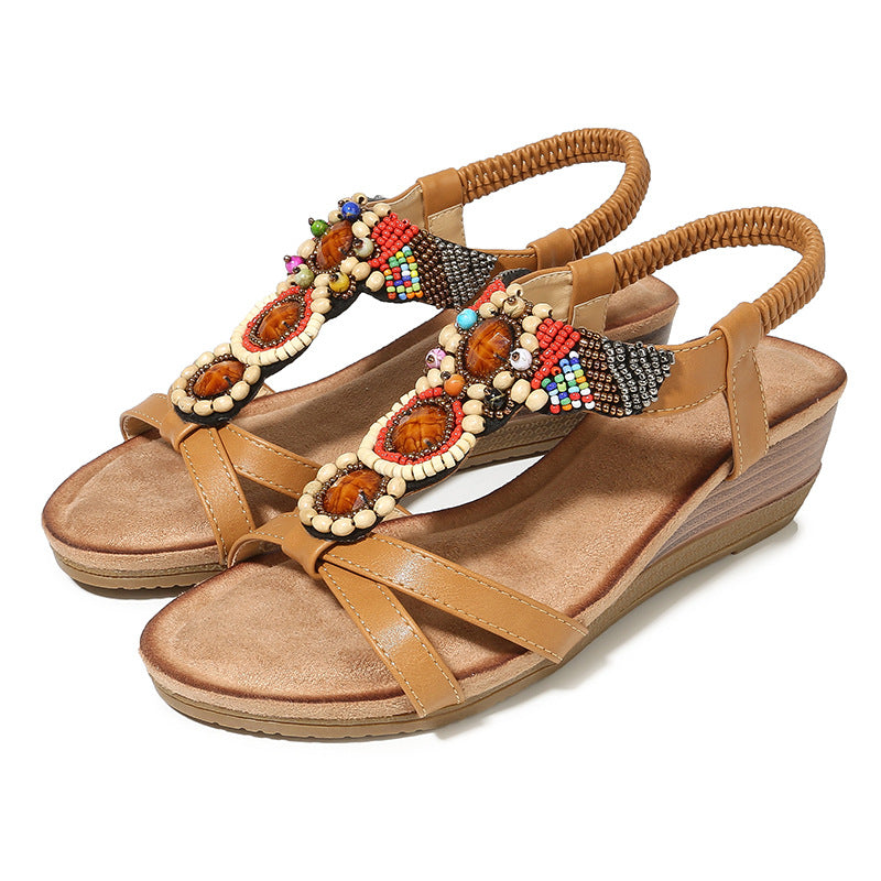 2e173a9ac55ef New Sandals 2019 Retro Wind Slope with Flowers Round Head Women's ...